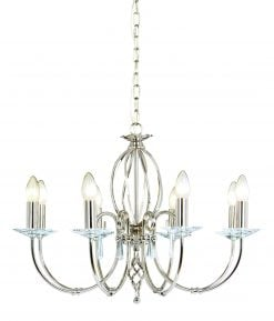 AG8-PN Aegean 8 Light Chandelier in Polished Nickel