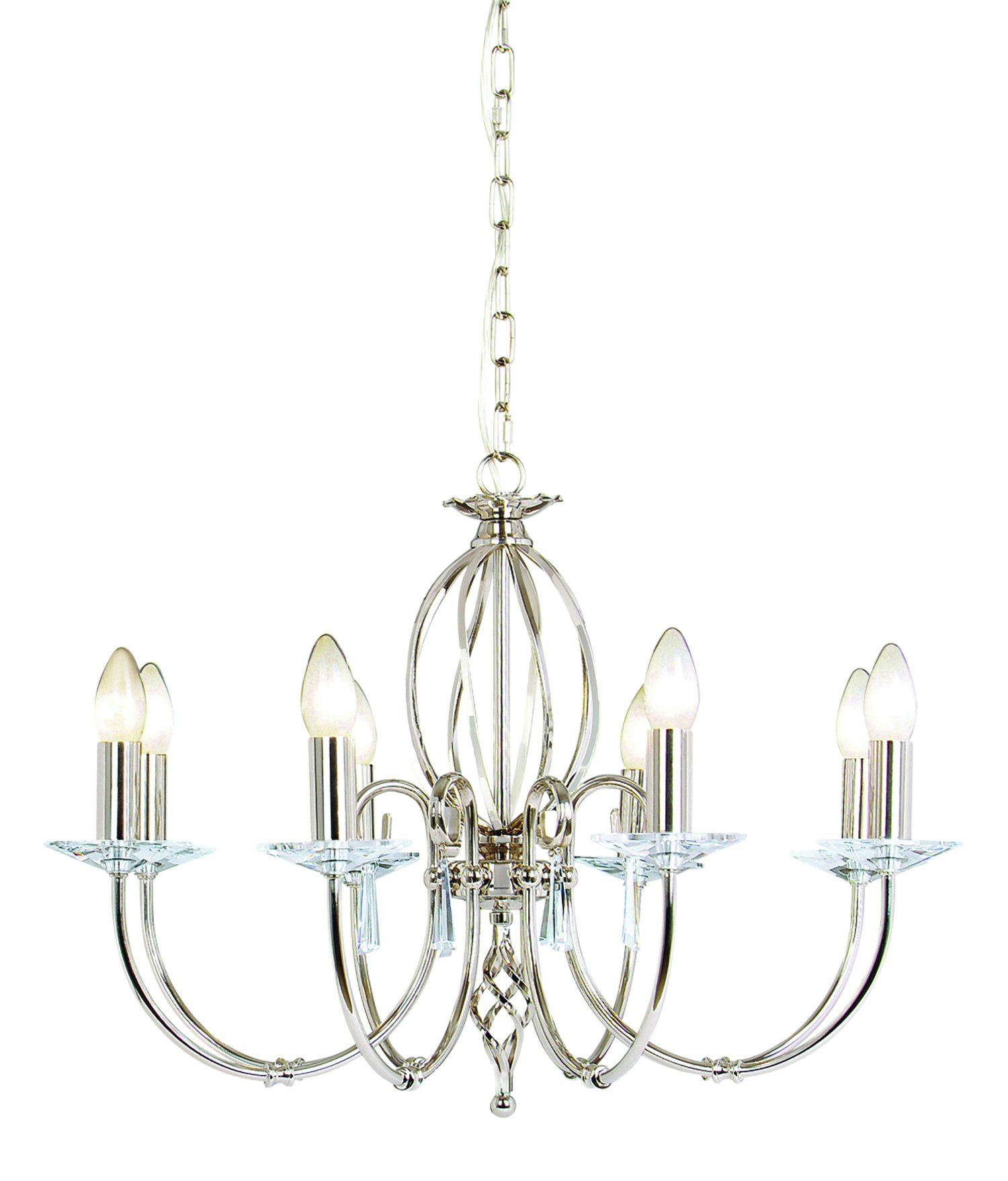 Elstead AG8-PN Aegean 8 Light Chandelier in Polished Nickel