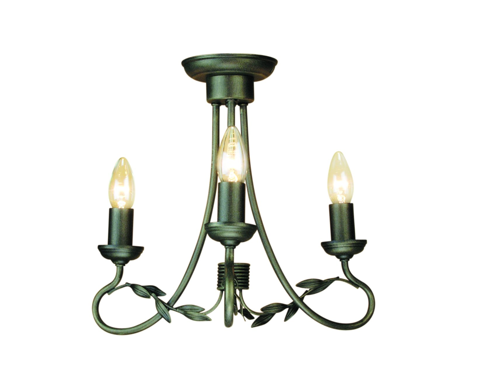 Elstead OV3-BLK-GLD Olivia 3 Light Chandelier in Black   Gold