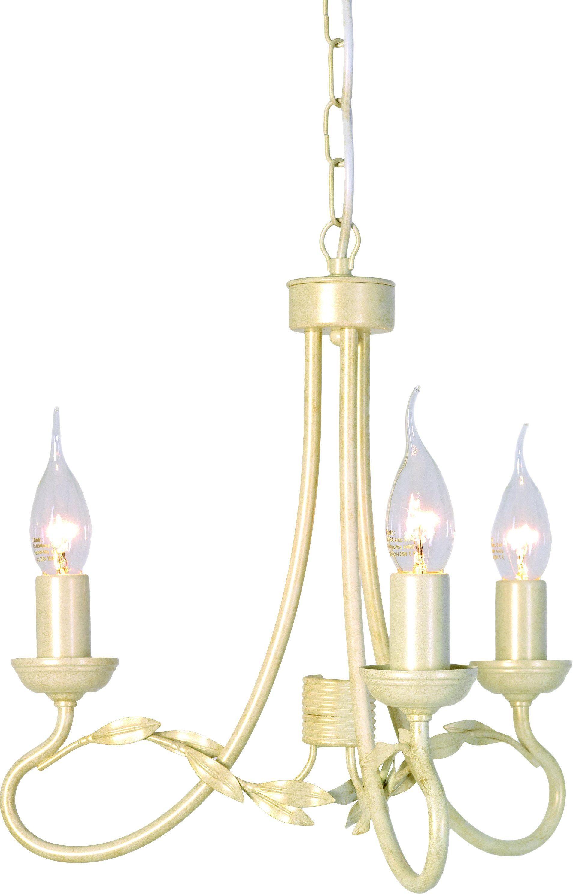 Elstead OV3-IV-GLD Olivia 3 Light Chandelier in Ivory   Gold