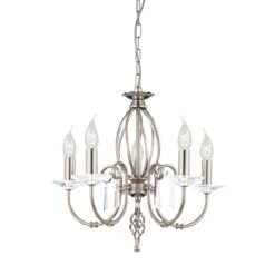 AG5-PN Aegean 5 Light Chandelier in Polished Nickel