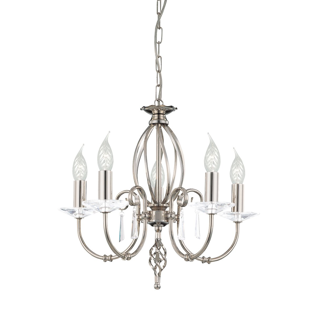 Elstead AG5-PN Aegean 5 Light Chandelier in Polished Nickel