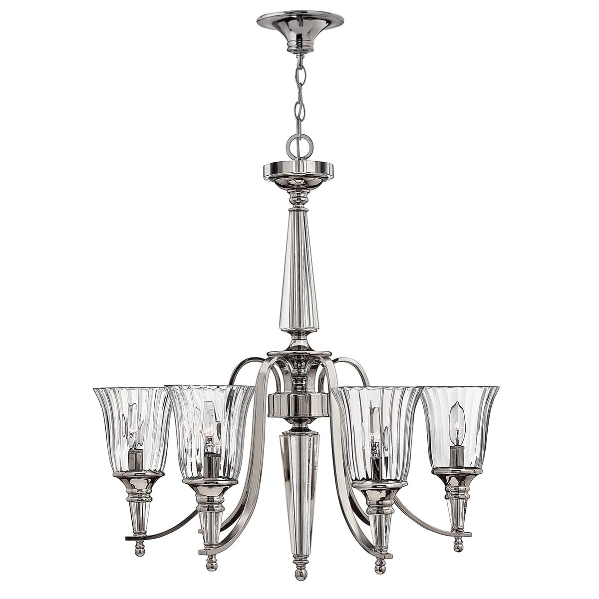 Elstead HK-CHANDON6 Chandon 6 Light Chandelier in Polished Sterling Metal Finish