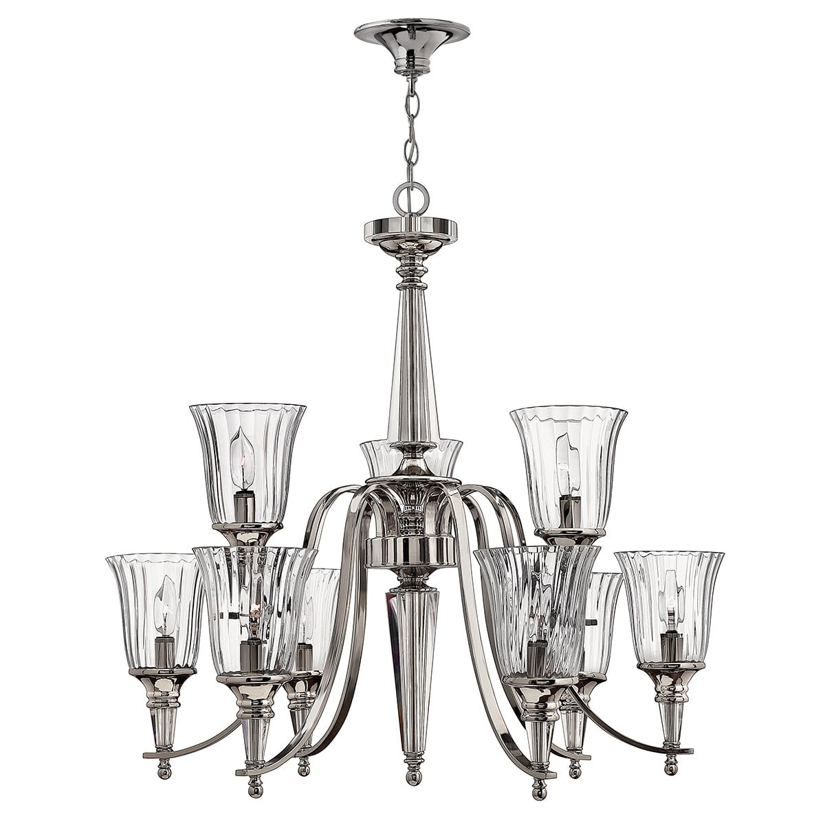 Elstead HK-CHANDON9 Chandon  9 Light Chandelier in Polished Sterling Metal Finish
