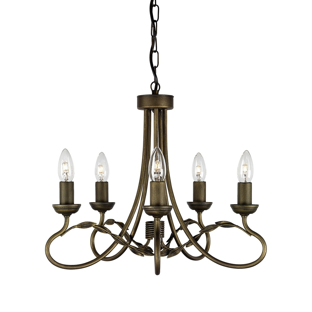 Elstead OV5-BLK-GLD Olivia 5 Light Chandelier in Black   Gold