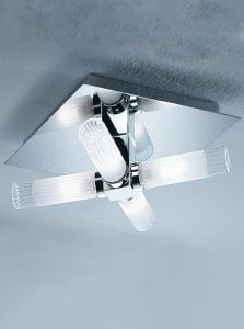CF1286 4 light flush bathroom fitting, chrome and glass
