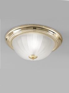 CF5639 Flush ceiling light small, brass and ribbed acid glass