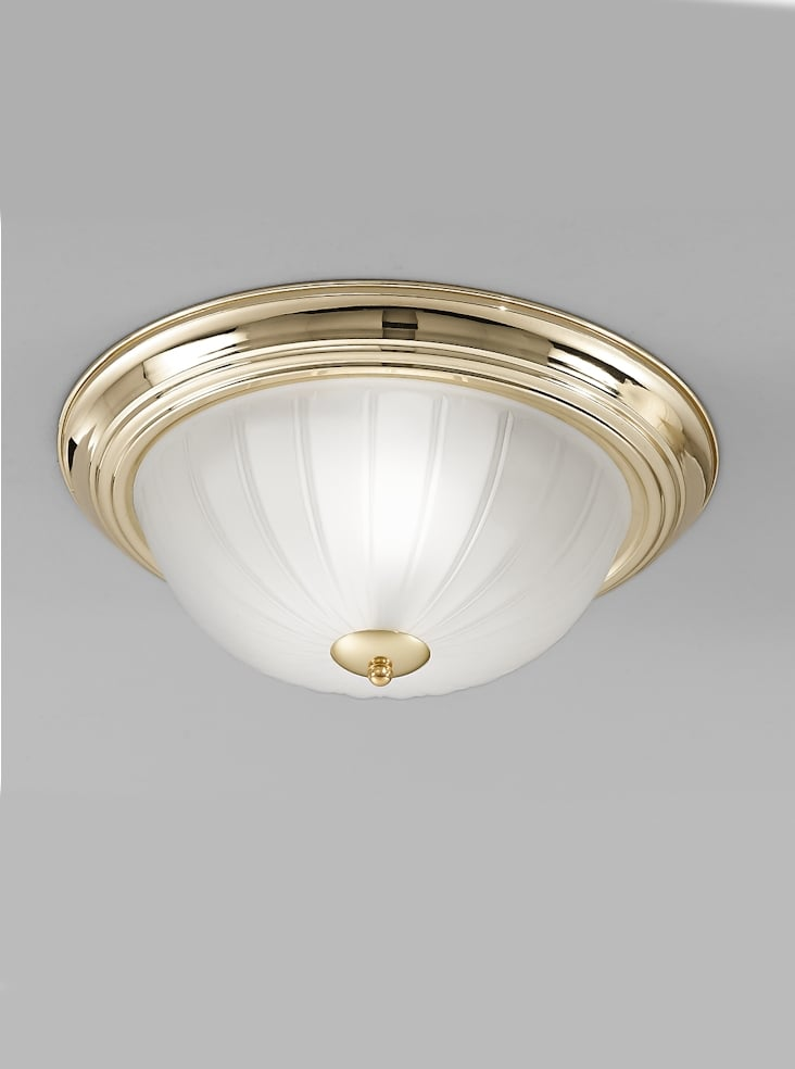 Franklite CF5639 Flush ceiling light small, brass and ribbed acid glass