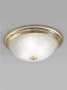 CF5640 Flush ceiling light large, brass and ribbed acid glass