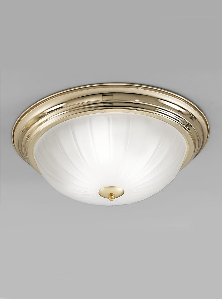 Franklite CF5640 Flush ceiling light large, brass and ribbed acid glass