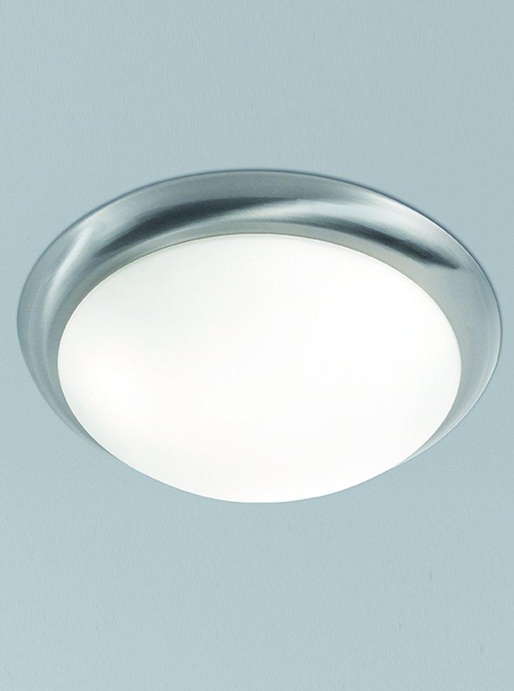 Franklite CF5742 Flush Ceiling Fitting in Satin Nickel with Matt White Glass 42cm