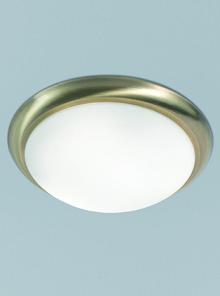Franklite CF5743 Flush Ceiling Fitting in Bronze with Matt White Glass 42cm
