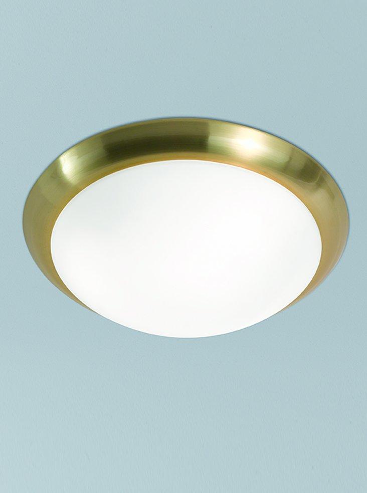 Franklite CF5744 Flush Ceiling Fitting in Satin Brass with Matt White Glass 42cm