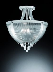 CF5748 Merton 2 Light semi flush in chrome with clear ribbed glass.