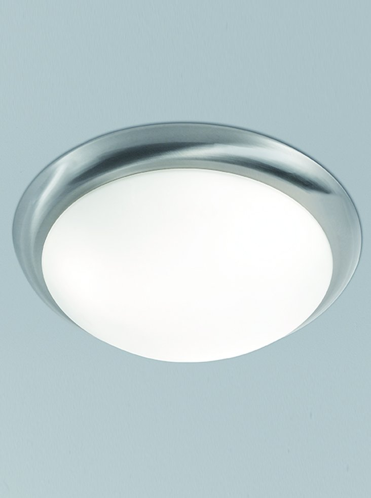 Franklite CF5760 Flush Ceiling Fitting in Satin Nickel with Matt White Glass 33.5cm