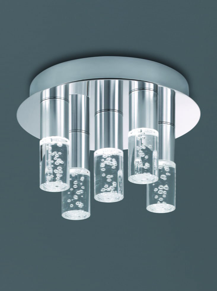 Cf5764 bathroom led 5 light ceiling light chrome finish for Bathroom ceiling lights
