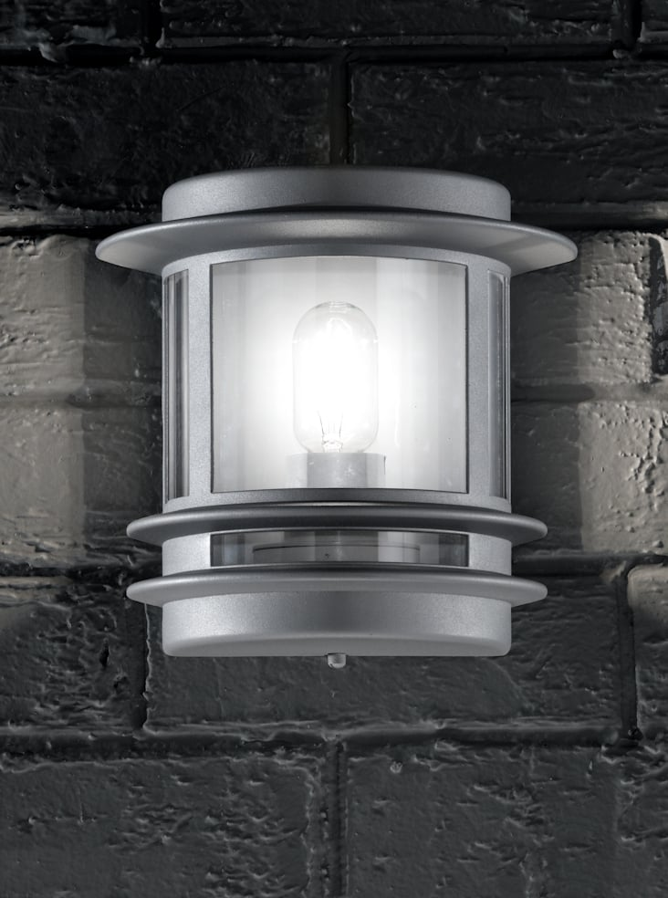 Franklite EXT6211 Exterior Wall Light, grey aluminium and polycarbonate.