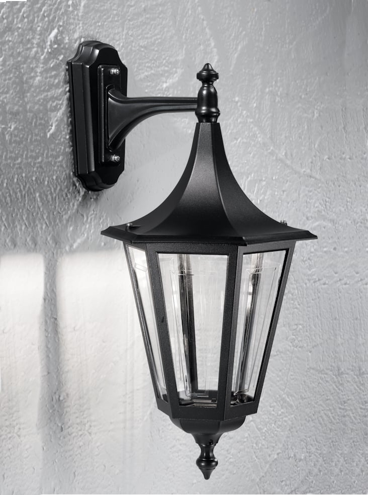 Franklite EXT6251-1 Boulevard Large down wall lantern in Matt black aluminium.