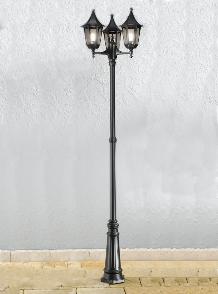 Franklite EXT6253-1 Boulevard Outdoor Triple head lamp post in matt black aluminium.