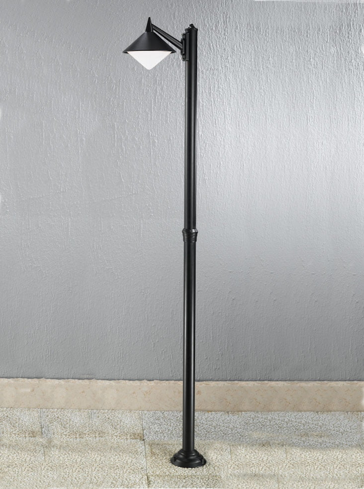 Franklite EXT6587 Sera modern Italian single lamp post, black aluminium