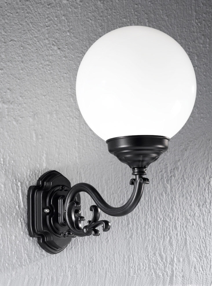 Franklite EXT6591 Rotonda Italian wall light large, black aluminium