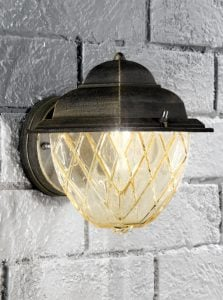 EXT6608 Compact italian wall light, matt black and brushed gold