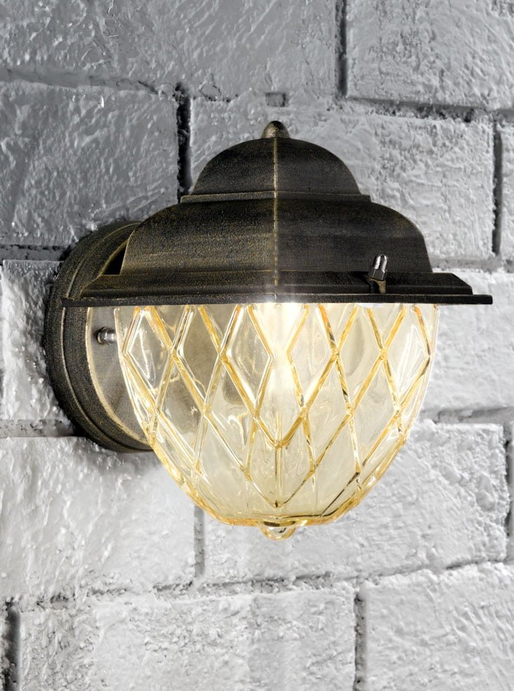 Franklite EXT6608 Compact italian wall light, matt black and brushed gold