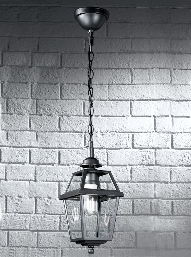 Franklite EXT6610 Nerezza Italian porch pendant, dark grey aluminium