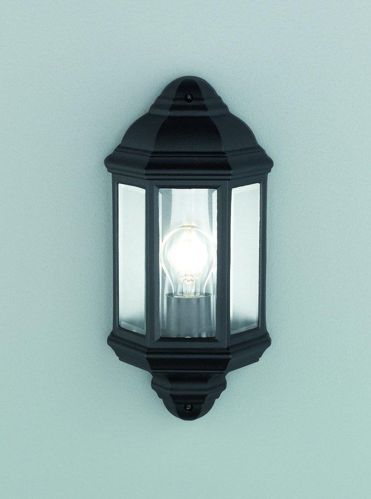 Franklite EXT6613 Exto Exterior Half Wall Lamtern in Black