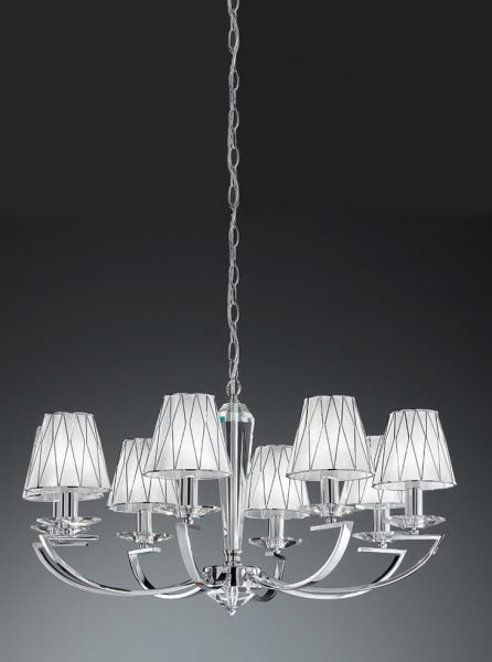 1114 Candle-clip lampshade Silver fabric with chrome cage