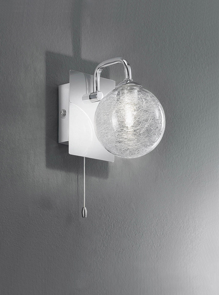 Franklite FL2313/1 Single bathroom wall light, chrome and glass