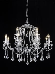 FL2330/12 Cinzia 12 light chandelier, chrome and crystal.