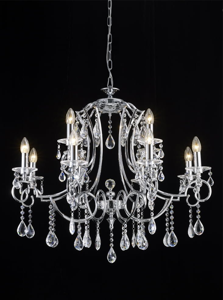 Franklite FL2330/12 Cinzia 12 light chandelier, chrome and crystal.