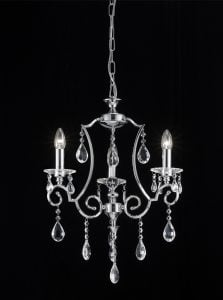 FL2330/3 Cinzia 3 light chandelier, chrome and crystal.