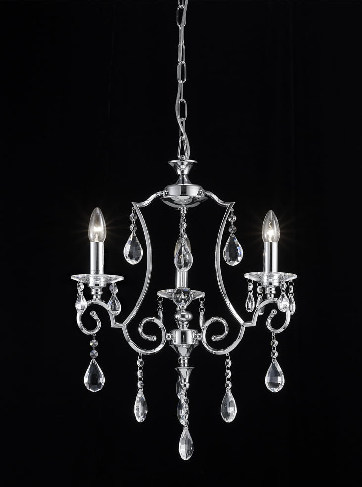 Franklite FL2330/3 Cinzia 3 light chandelier, chrome and crystal.