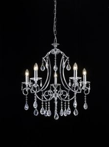 FL2330/5 Cinzia 5 light chandelier, chrome and crystal.