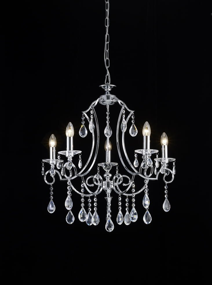 Franklite FL2330/5 Cinzia 5 light chandelier, chrome and crystal.