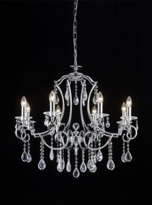 FL2330/8 Cinzia 8 light chandelier, chrome and crystal.