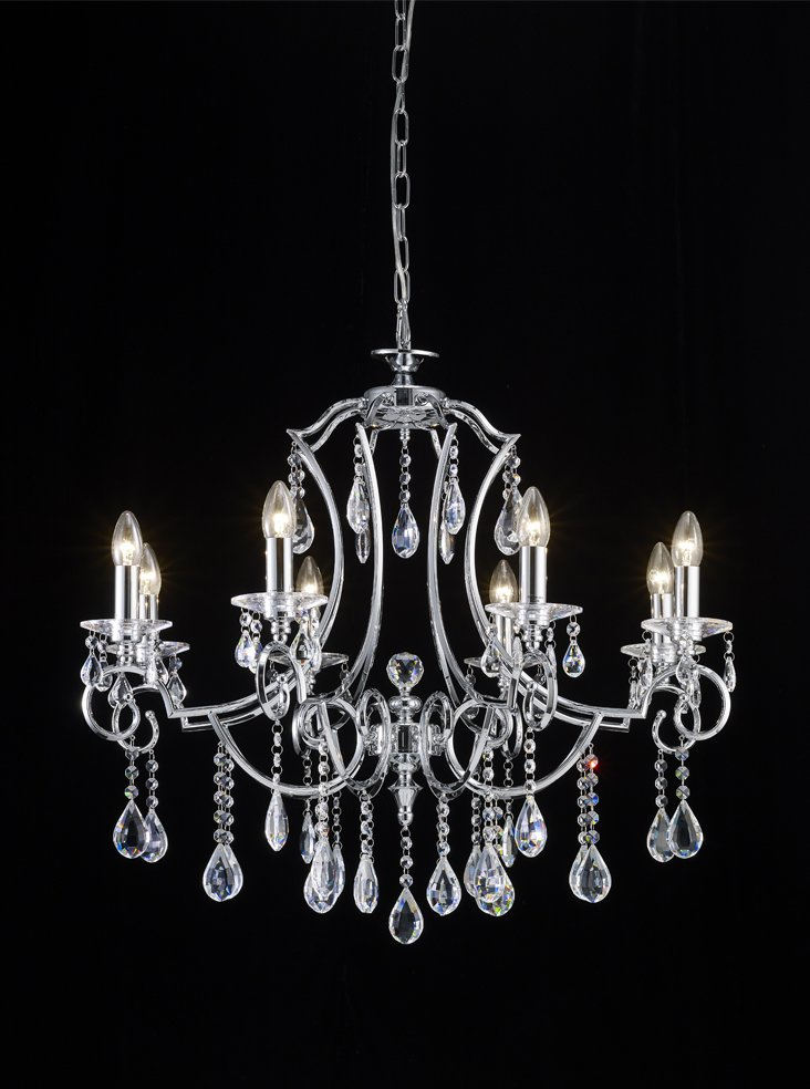 Franklite FL2330/8 Cinzia 8 light chandelier, chrome and crystal.