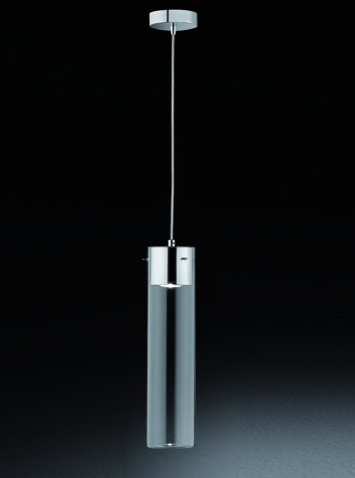Franklite FL2333/1 Frenzy single clear empty tubular pendant, chrome