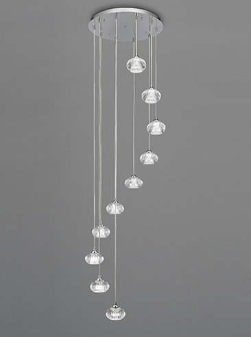 Franklite FL2343/10 Tizzy 10 Light spiral Pendant satin nickel and cut glass