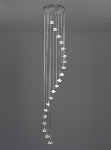 Franklite FL2343/20 Tizzy 20 Light spiral Pendant satin nickel and rippled glass