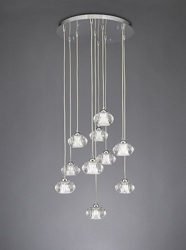 Franklite FL2344/10 Tizzy 10 light adjustable length pendant satin nickel and rippled glass