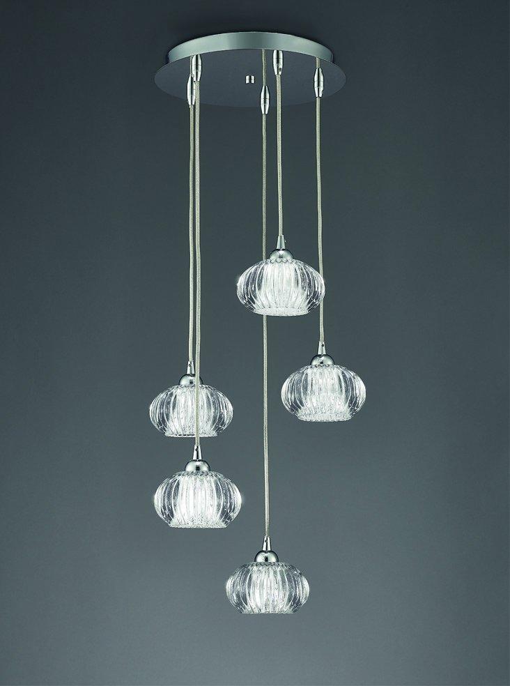Franklite FL2344/5 Tizzy 5 light adjustable length pendant satin nickel and ripples glass