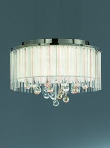 FL2345/6 Ambience 6 Light Flush fitting Bronze finish with Crystal drops inside a lustrous strung shade.