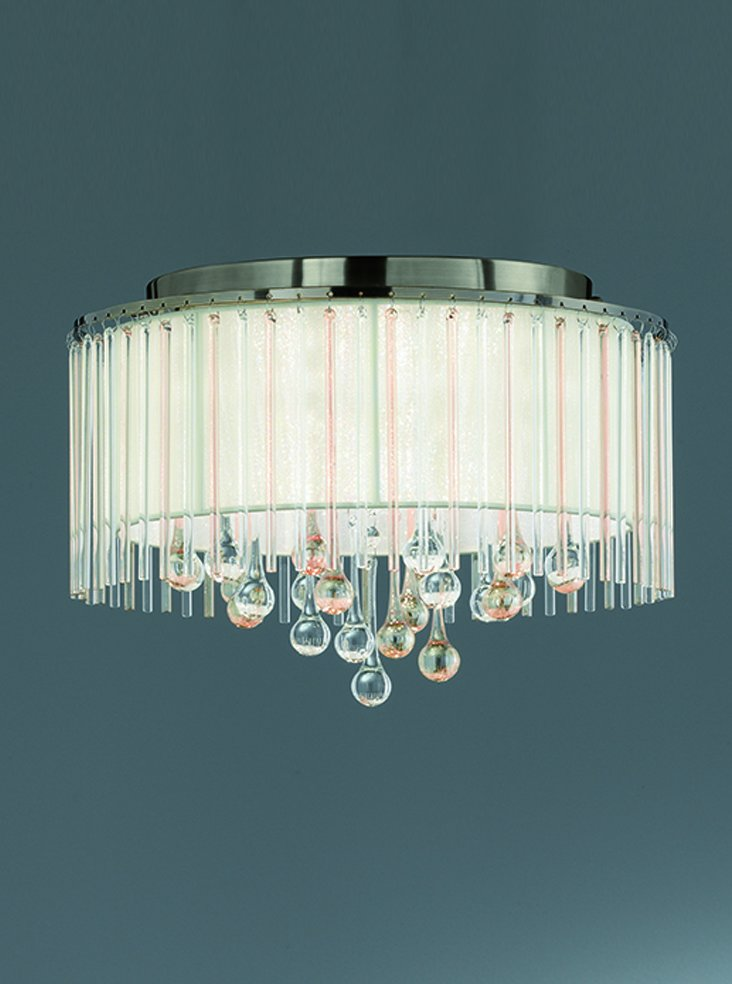 Franklite FL2345/6 Ambience 6 Light Flush fitting Bronze finish with Crystal drops inside a lustrous strung shade.
