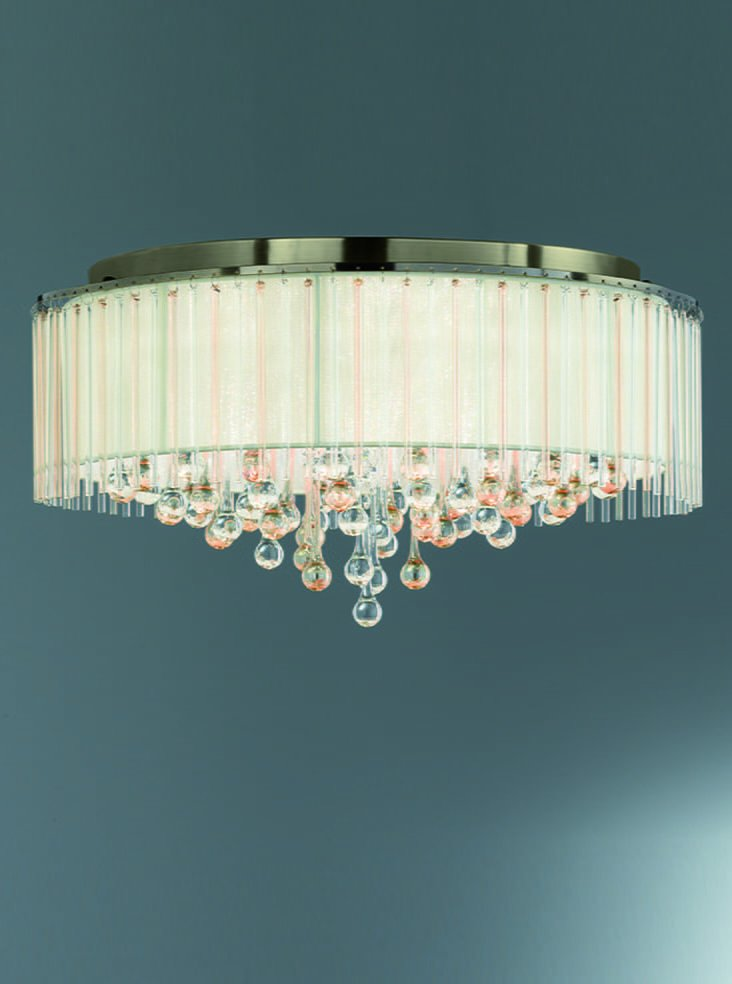 Franklite Fl2345/8 Ambience 8 Light Flush fitting Bronze finish with Crystal drops inside a lustrous strung shade.