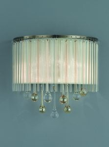 FL2346/2 Ambience 2 Light Wall Light Bronze finish with Crystal drops inside a lustrous strung shade.