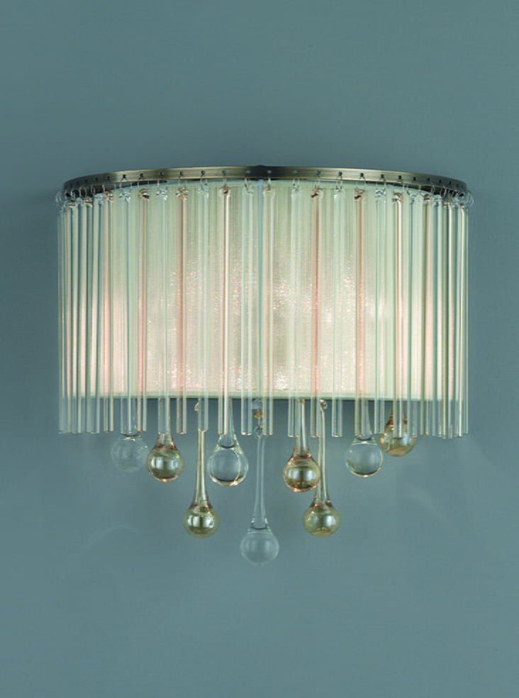 Franklite FL2346/2 Ambience 2 Light Wall Light Bronze finish with Crystal drops inside a lustrous strung shade.