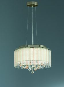 FL2346/6 Ambience 6 Light Pendant Bronze finish with Crystal drops inside a lustrous strung shade.